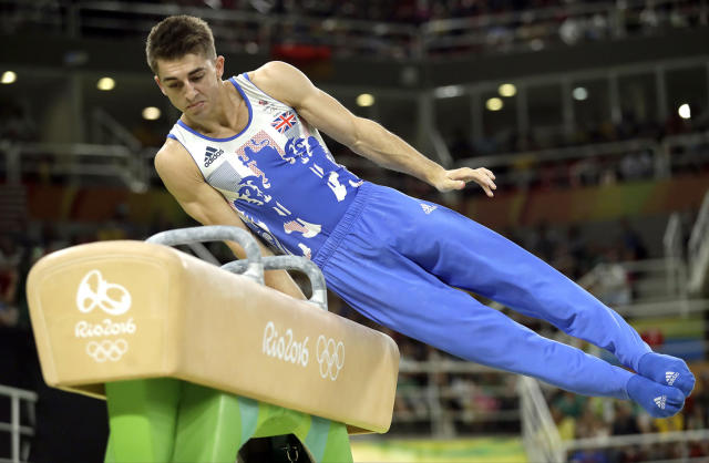 <p>Britain's Max Whitlock performs on the pommel horse during the artistic gymnastics men's apparatus final at the 2016 Summer Olympics in Rio de Janeiro, Brazil, Sunday, Aug. 14, 2016. (AP Photo/Dmitri Lovetsky) </p>