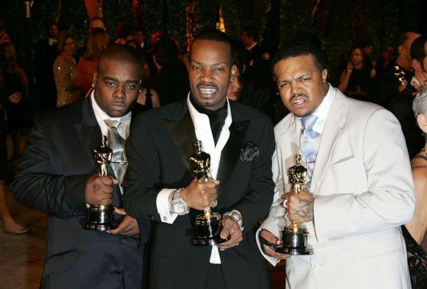 PHOTO: Cedric Coleman, Jordan Houston and Paul Beauregard of Three 6 Mafia, win the Oscar for Best Song, March 5, 2006, in Hollywood, Calif. (Toni Anne Barson Archive/WireImage/Getty Images)