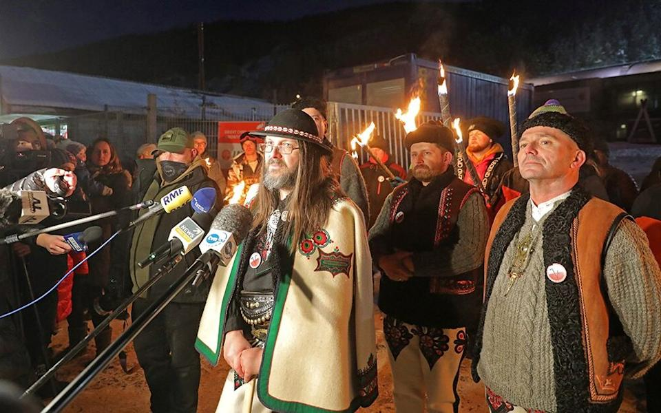 Sebastian Piton, who started the 'Highlanders' Veto' movement, spoke to reporters in Poland to announce plans to reopen resorts -  AGENCJA GAZETA VIA REUTERS