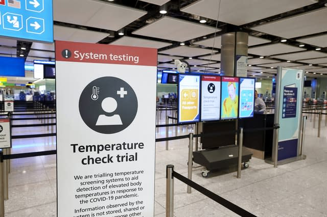 Temperature screening at Heathrow Airport