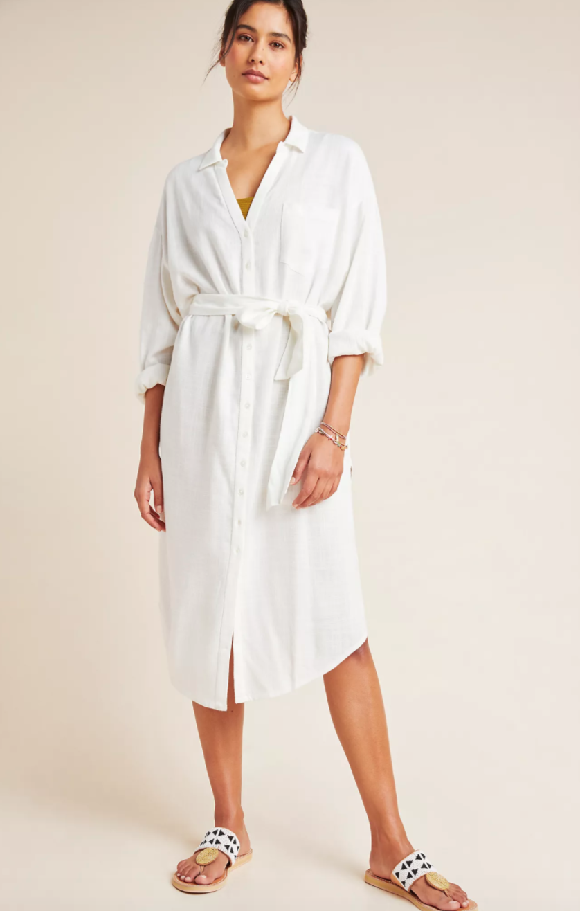"""<br> <br> <strong>L Space Anthropologie</strong> L Space Barcelona Tie-Front Shirtdress, $, available at <a href=""""https://go.skimresources.com/?id=30283X879131&url=https%3A%2F%2Fwww.anthropologie.com%2Fshop%2Fl-space-barcelona-tie-front-shirtdress"""" rel=""""nofollow noopener"""" target=""""_blank"""" data-ylk=""""slk:Anthropologie"""" class=""""link rapid-noclick-resp"""">Anthropologie</a>"""