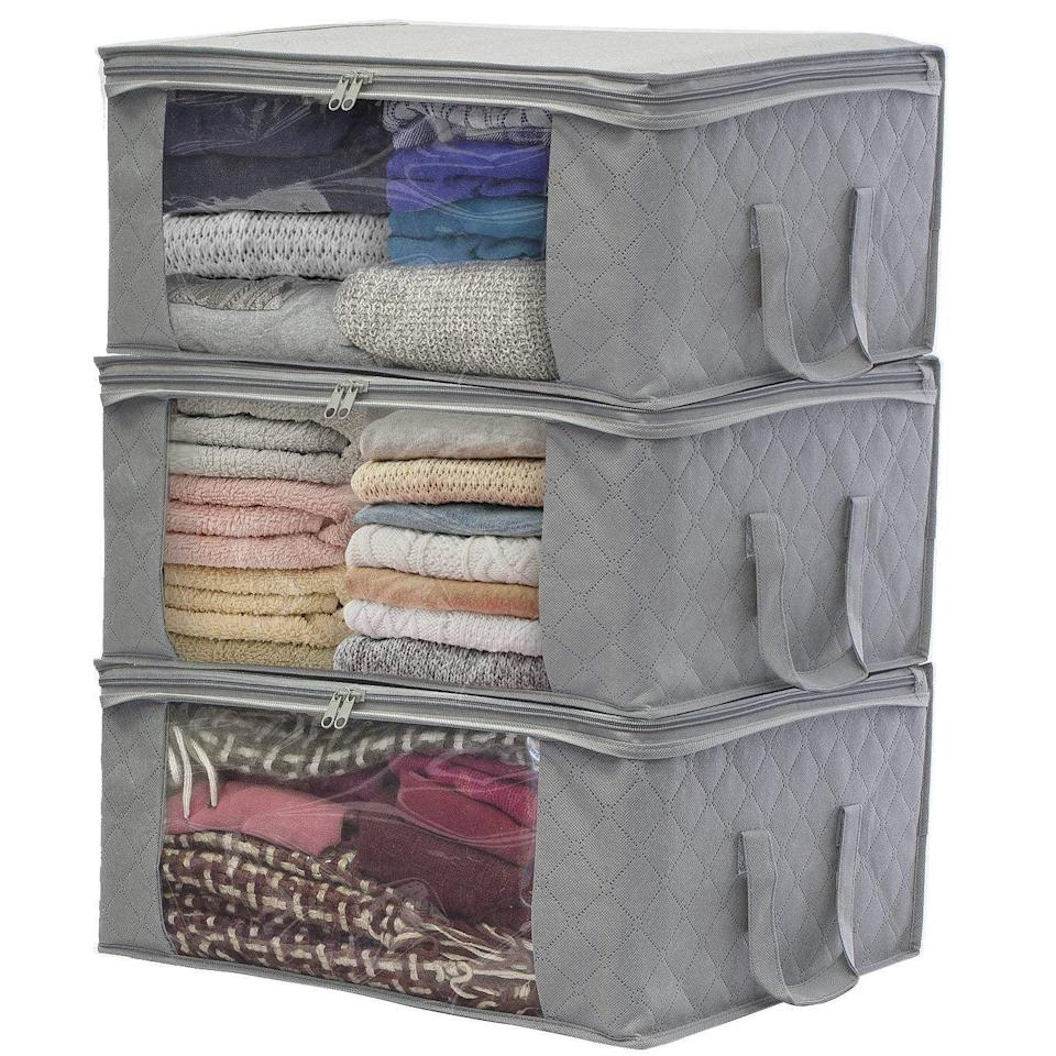 """<p>For out-of-season clothes, towels, linens, or whatever else you might like, the <a href=""""https://www.popsugar.com/buy/Sorbus%203-Pack%20Foldable%20Storage%20Bag%20Organizers-465752?p_name=Sorbus%203-Pack%20Foldable%20Storage%20Bag%20Organizers&retailer=amazon.com&price=22&evar1=casa%3Auk&evar9=46355519&evar98=https%3A%2F%2Fwww.popsugar.com%2Fhome%2Fphoto-gallery%2F46355519%2Fimage%2F46355541%2FSorbus-3-Pack-Foldable-Storage-Bag-Organizers&list1=college%2Corganization%2Cclosets%2Csmall%20spaces%2Ccloset%20organization%2Csmall%20space%20living%2Cdorms&prop13=api&pdata=1"""" rel=""""nofollow noopener"""" target=""""_blank"""" data-ylk=""""slk:Sorbus 3-Pack Foldable Storage Bag Organizers"""" class=""""link rapid-noclick-resp"""">Sorbus 3-Pack Foldable Storage Bag Organizers</a> ($22) offer three divided sections with a clear window view and will protect your belongings from dust, pests, and water damage.</p>"""