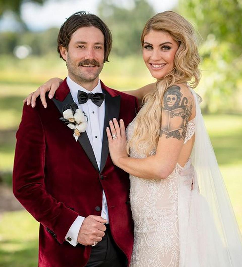 Married At First Sight Australia groom Brett Helling and bride Booka Nile on their wedding day