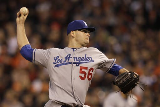 Los Angeles Dodgers pitcher Stephen Fife delivers against the San Francisco Giants during the fourth inning of a baseball game in San Francisco, Friday, July 27, 2012. (AP Photo/Jeff Chiu)