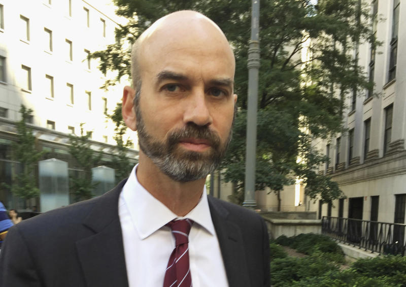 FILE - This Aug. 16, 2017, file photo shows James Bennet, editorial page editor of The New York Times, in New York. Bennet has resigned amid outrage over an op-ed by a Republican senator who advocated using federal troops to quell protests, outrage that only grew when it was revealed the editor had not read the piece before publication, the paper announced Sunday, June 7, 2020. (AP Photo/Larry Neumeister, File)