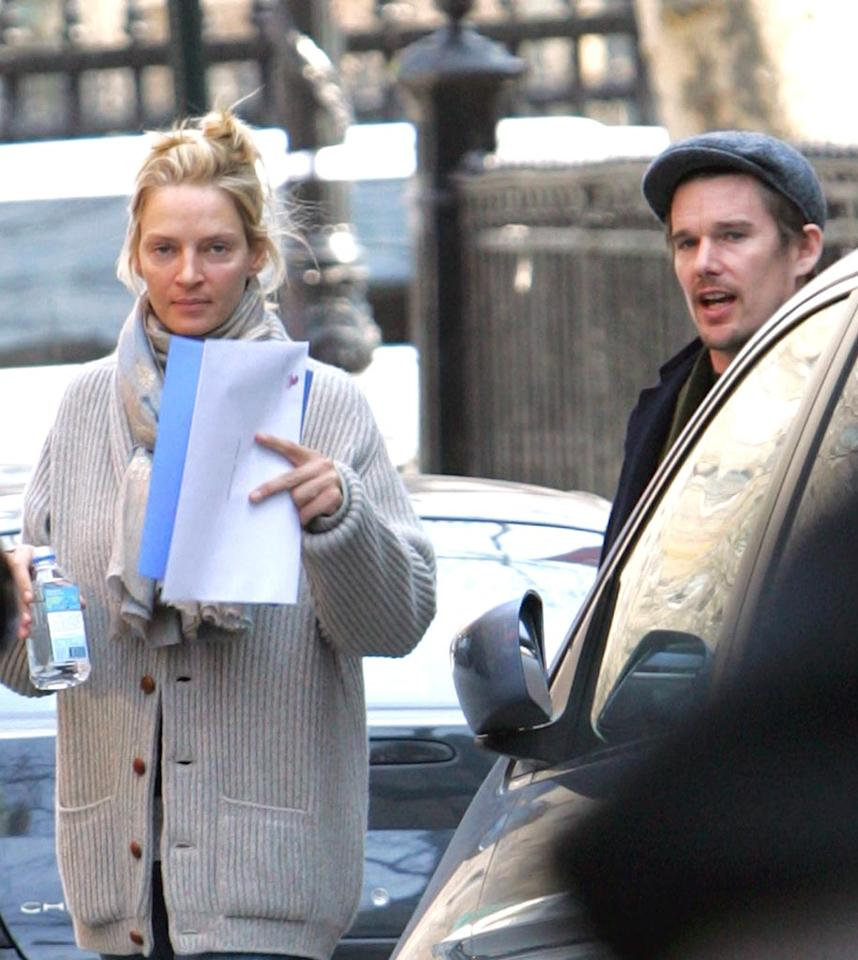 """Uma Thurman and Ethan Hawke are spotted leaving their kids' school in New York. Even though the two are no longer together, it's good to see them putting their children first. Daniel/<a href=""""http://www.infdaily.com"""" target=""""new"""">INFDaily.com</a> - March 13, 2008"""