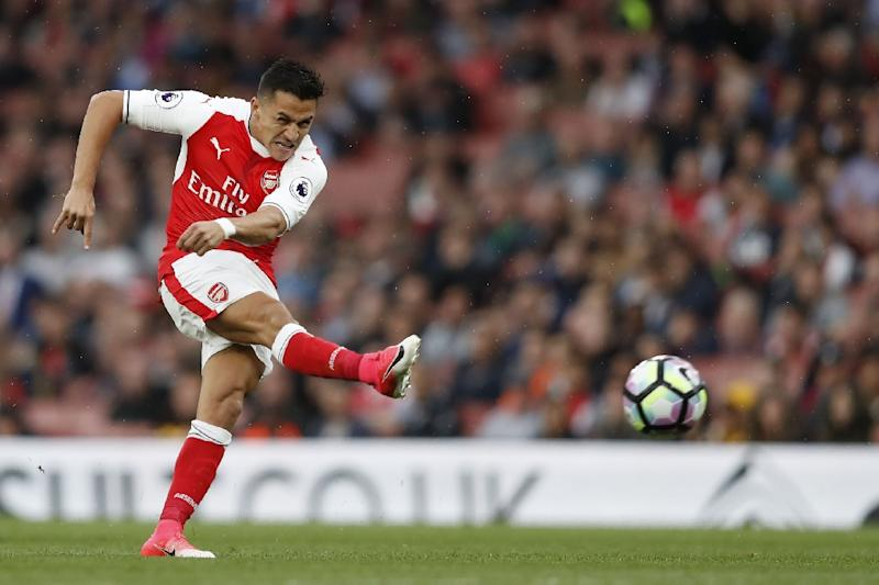 Arsenal's striker Alexis Sanchez takes a shot at goal which is disallowed during the English Premier League football match May 16, 2017