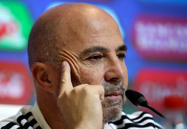 Football Soccer - Argentina's national soccer team training - World Cup 2018 - Buenos Aires, Argentina - May 21, 2018 - Argentina's head coach, Jorge Sampaoli, attends a news conference on his 23-man squad for the 2018 World Cup in Russia. REUTERS/Agustin Marcarian