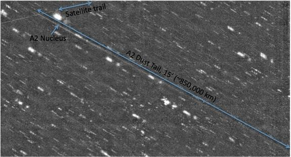 Asteroid P/2010 A2's long tail stretches nearly three times the distance from the Earth to the moon, images from the WIYN telescope in Arizona reveal.