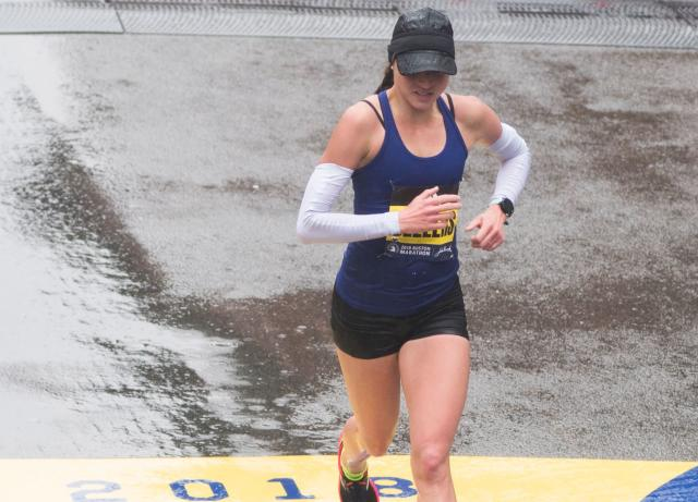 Sarah Sellers, a relative unknown, took second place for the women in the 2018 Boston Marathon. (RYAN MCBRIDE/AFP/Getty Images)
