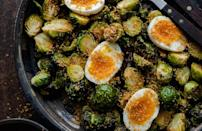 """<p>There are easily <a href=""""https://www.thedailymeal.com/cook/eggs-101?referrer=yahoo&category=beauty_food&include_utm=1&utm_medium=referral&utm_source=yahoo&utm_campaign=feed"""" rel=""""nofollow noopener"""" target=""""_blank"""" data-ylk=""""slk:101 ways to cook eggs"""" class=""""link rapid-noclick-resp"""">101 ways to cook eggs</a>, and serving them with Brussels sprouts is a great way to do so during the holiday season. The soft boiled yolk coats the crispy vegetable and complements the fennel-spiced toasted breadcrumbs.</p> <p><a href=""""https://www.thedailymeal.com/best-recipes/roasted-brussels-sprouts-jammy-eggs?referrer=yahoo&category=beauty_food&include_utm=1&utm_medium=referral&utm_source=yahoo&utm_campaign=feed"""" rel=""""nofollow noopener"""" target=""""_blank"""" data-ylk=""""slk:For the Roasted Brussels Sprouts with Jammy Eggs recipe, click here."""" class=""""link rapid-noclick-resp"""">For the Roasted Brussels Sprouts with Jammy Eggs recipe, click here.</a></p>"""