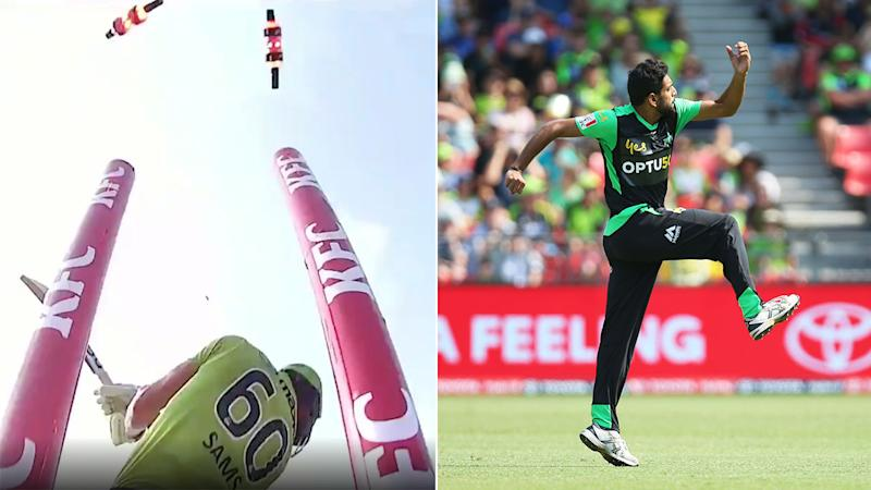 Seen here, Haris Rauf destroyed the middle stump of Daniel Sams.