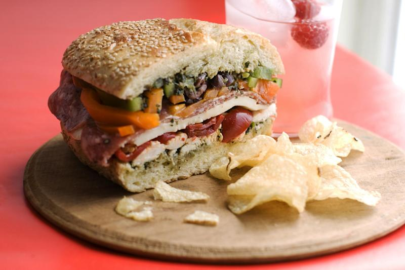 In this image taken on June 27, 2013, an overnight pressed picnic sandwich is shown in Concord, N.H. (AP Photo/Matthew Mead)