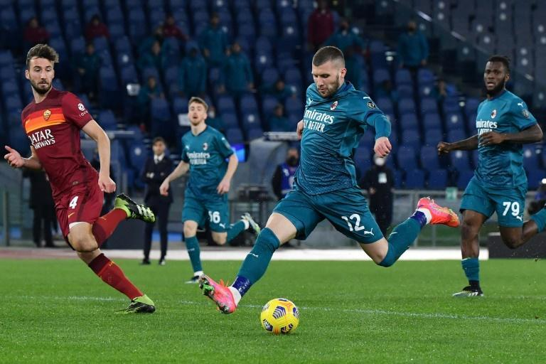 AC Milan's Ante Rebic scored the winner before going off with a muscular problem.