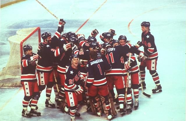 <p>While it might've been the game that would remain in the history books, the win over the Soviets didn't win the gold for Team USA. For that, they had to go on and beat Finland. This is their celebration after securing the gold medal for just the second time ever. </p>