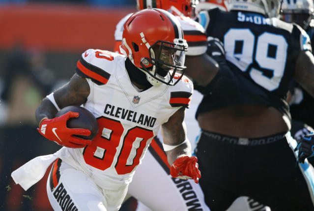 Cleveland Browns wide receiver Jarvis Landry rushes for a three-yard touchdown during the first half of an NFL football game against the Carolina Panthers, Sunday, Dec. 9, 2018, in Cleveland. (AP Photo/Ron Schwane)