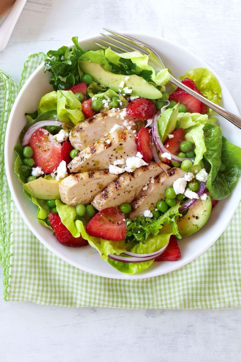 """<p>Fresh strawberries add a sweet and juicy element to this spring salad.</p><p><strong><a href=""""https://www.countryliving.com/food-drinks/recipes/a38097/grilled-chicken-and-strawberry-cobb-salad-recipe/"""" rel=""""nofollow noopener"""" target=""""_blank"""" data-ylk=""""slk:Get the recipe"""" class=""""link rapid-noclick-resp"""">Get the recipe</a>.</strong></p>"""