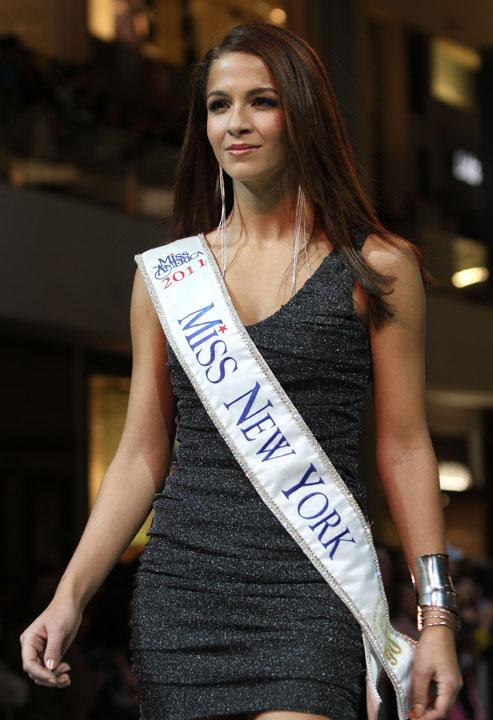 LAS VEGAS, NV - JANUARY 07:  2012 Miss America Pageant contestant Miss New York Kaitlin Monte walks the runway at the Fashion Show Mall on January 7, 2012 in Las Vegas, Nevada.  (Photo by Marcel Thomas/FilmMagic)