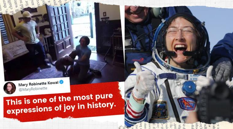 christina koch, christina koch reunited with dog, Christina dog reunion video, christina koch back on earth, astronaut reunited with dog, nasa women space mission, viral news, indian express