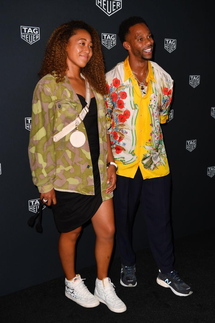 Naomi Osaka and Victor Cruz attend a Tag Heuer event at Mr. Purple in New York, Aug. 26. - Credit: Robert O'Neil/Splash News