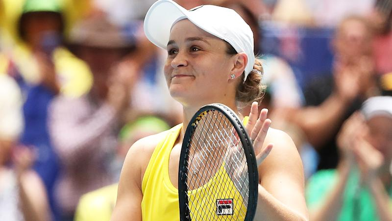 Ash Barty, pictured after claiming a 6-0, 6-0 win over France's Caroline Garcia.