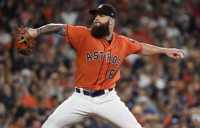 Houston Astros starting pitcher Dallas Keuchel delivers during the second inning of a baseball game against the Kansas City Royals, Friday, June 22, 2018, in Houston. (AP Photo/Eric Christian Smith)