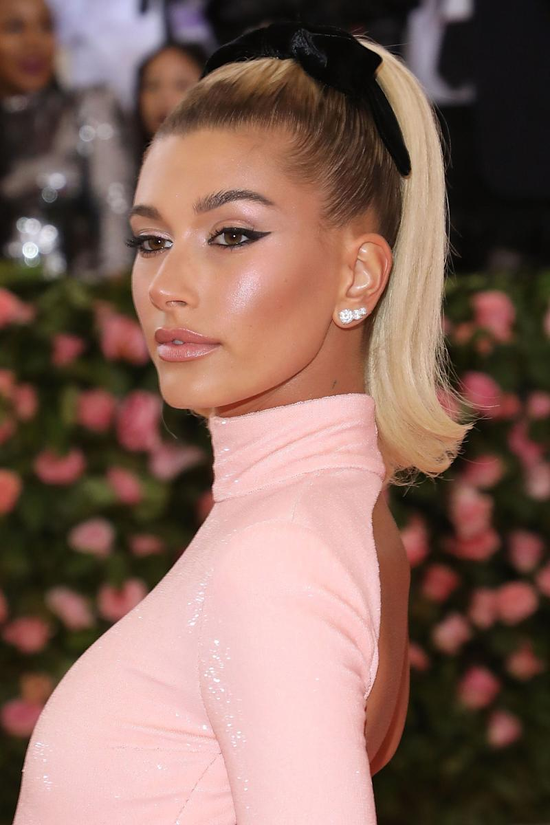 Model and newlywed Hailey Bieber, wore three pairs of stunning BVLGARI diamond studs, cascading up her ears at the 2019 Met Gala.