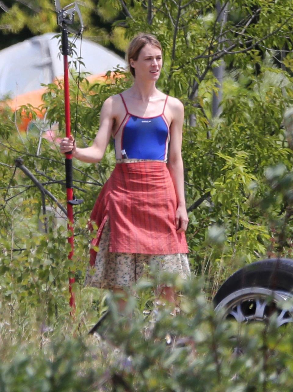 <p>Mackenzie Davis is seen for the first time on the set of the new HBO Max series <em>Station Eleven</em> in Toronto on June 24.</p>