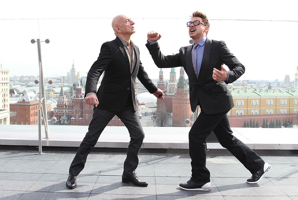 "MOSCOW, RUSSIA - April 10th: Actors Sir Ben Kingsley and Robert Downey Jr. at the Russia Tour for ""IRON MAN 3"" - MARVEL's ""Iron Man 3"" Moscow Press Tour at the Ritz Carlton, Moscow on April 10, 2013 in Moscow Russia. Photo by Gennady Avramenko"