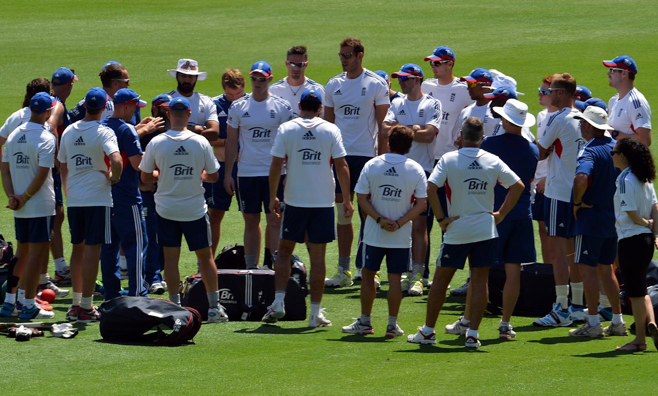 England players prepare for a short practice session at the Gabba in Brisbane on November 20, 2013, on the eve of the first Ashes cricket Test match between England and Australia. AFP PHOTO / Saeed KHAN  IMAGE RESTRICTED TO EDITORIAL USE - STRICTLY NO COMMERCIAL USE         (Photo credit should read SAEED KHAN/AFP/Getty Images)
