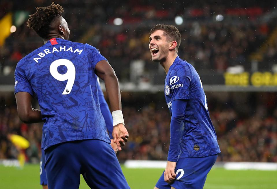 Chelsea beat Watford Saturday on goals by Christian Pulisic (right) and Tammy Abraham. (Catherine Ivill/Getty)