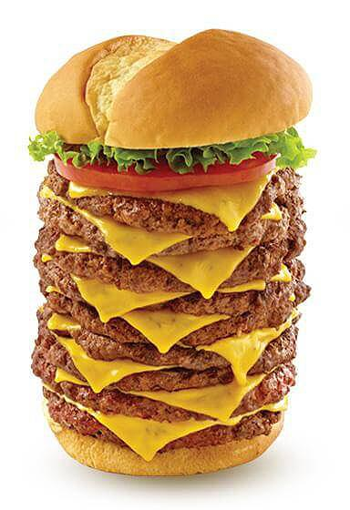 One of the unhealthiest fast food chain burgers in the U.S. is Wayback Burgers Triple Triple Burger; contains 9 Patties, 9 slices of cheese, 1,780 calories, ...