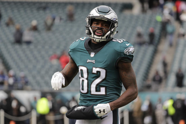 Philadelphia Eagles' Torrey Smith was a member of the Super Bowl-winning Baltimore Ravens five years ago, and reflected on his life on and off the field since. (AP)