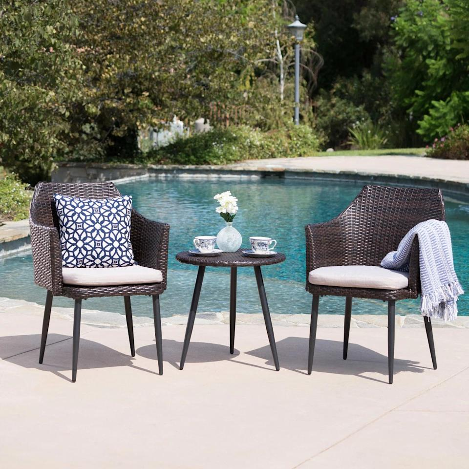 <p>Add a modern yet elevated touch to your patio with this <span>Christopher Knight Home Iona 3pc Wicker Chat Set</span> ($250).</p>