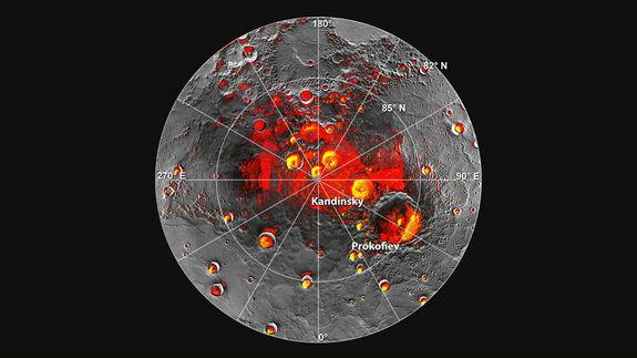 Shown in red are areas of Mercury's north polar region that are in shadow in all images acquired by MESSENGER to date. Image coverage, and mapping of shadows, is incomplete near the pole. The polar deposits imaged by Earth-based radar are in ye