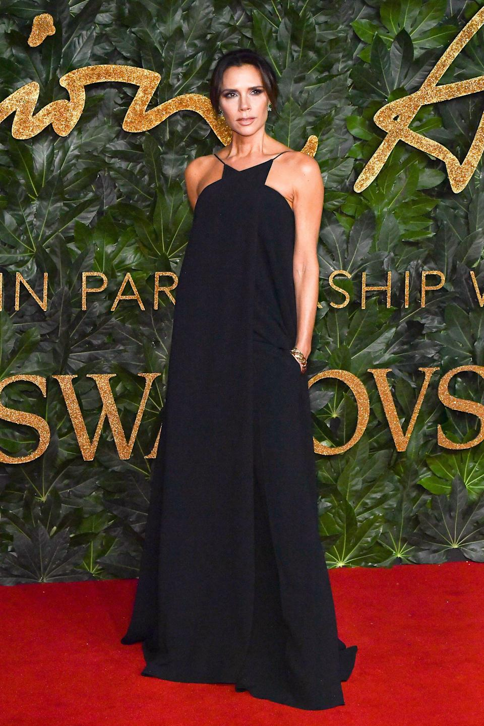 <p>The designer wore a halterneck black gown from the spring/summer 2019 collection by her eponymous fashion label. <em>[Photo: Getty]</em> </p>