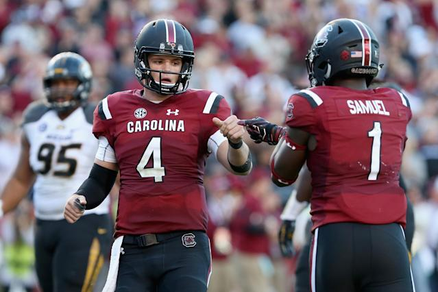 "Can South Carolina, led by <a class=""link rapid-noclick-resp"" href=""/ncaaf/players/269283/"" data-ylk=""slk:Jake Bentley"">Jake Bentley</a> and <a class=""link rapid-noclick-resp"" href=""/ncaaf/players/242964/"" data-ylk=""slk:Deebo Samuel"">Deebo Samuel</a>, challenge Georgia in the SEC East? (Photo by Tyler Lecka/Getty Images)"