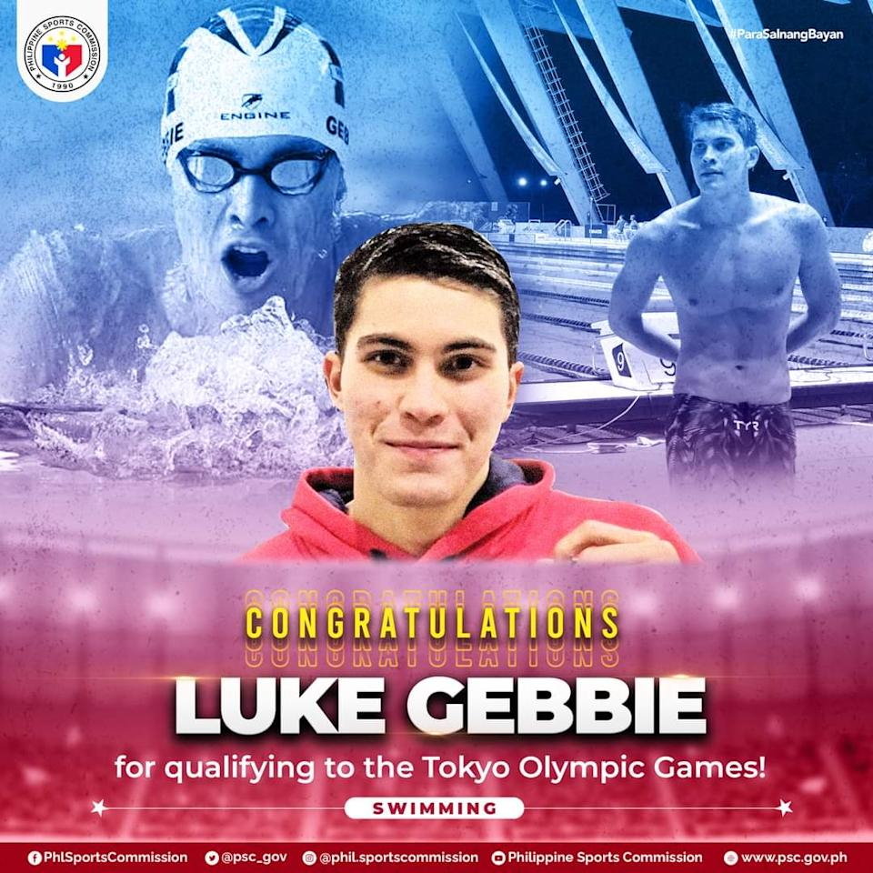 Filipino swimmer Luke Gebbie is set to represent the Philippines in the Tokyo Olympics. (Photo: Philippine Sports Commission/Facebook)