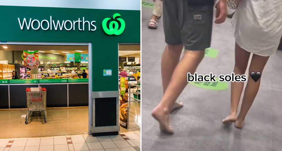 Left: Woolworths logo at entrance. Right: Barefoot people with dirty feet, text overlay reads 'black soles'. Source: Getty Images (left), TikTok/@sophiainsydney (right).