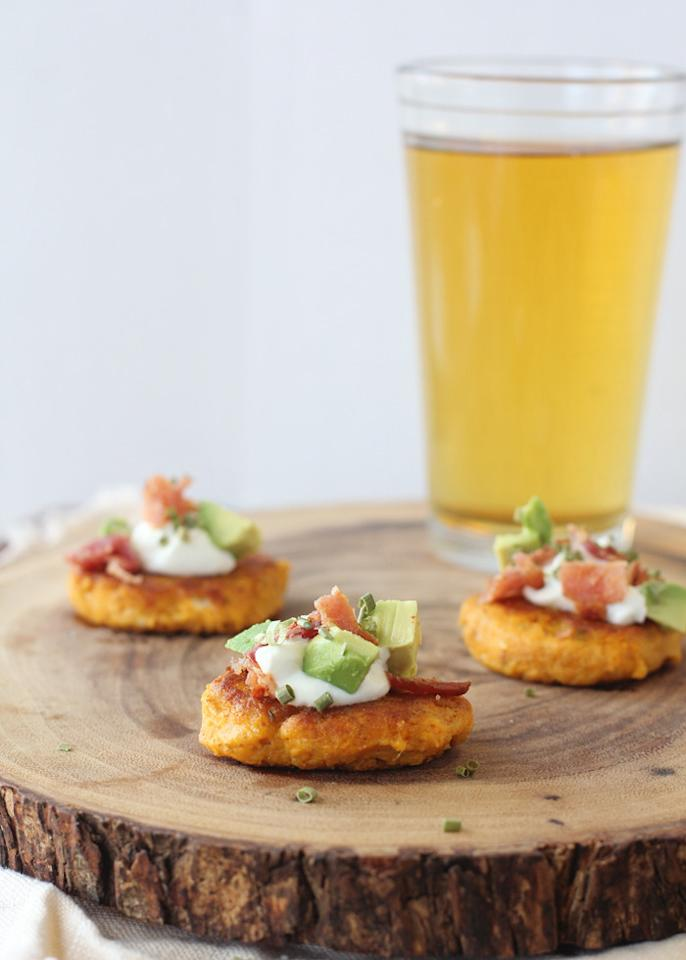 """<p>We're salivating over this savory dish recommended by Emily Roemmich of <a href=""""http://busy-mommy.com/"""">Busy Mommy</a>. """"These are the perfect football appetizer,"""" Roemmich said. (Photo: <a href=""""http://litehousefoods.com/livinglitehouseblog/recipe/sweet-potato-pancakes-feta-bacon-avocado/#more-2251"""">Lifehouse Foods</a>)</p>"""