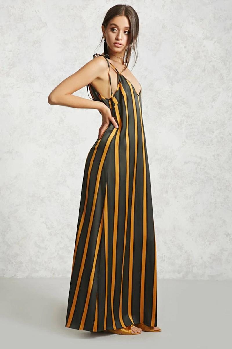 "<strong><a href=""https://www.forever21.com/us/shop/catalog/product/LOVE21/contemporary-main/2000318275/01"" target=""_blank"" rel=""noopener noreferrer"">Forever 21 striped satin maxi dress</a>, $22.90</strong>"