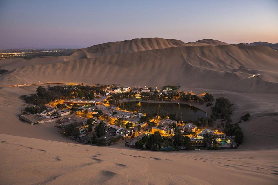 <p>Huacachina, an oasis village in the Ica region of Peru. </p>