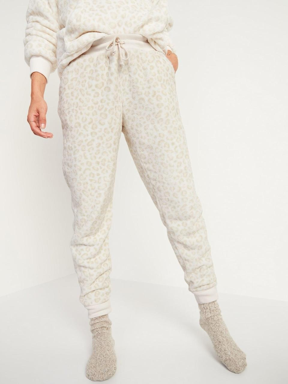 <p>Shoppers love how warm these <span>Mid-Rise Cozy Faux-Fur Jogger Sweatpants</span> ($25, originally $40) are.</p>
