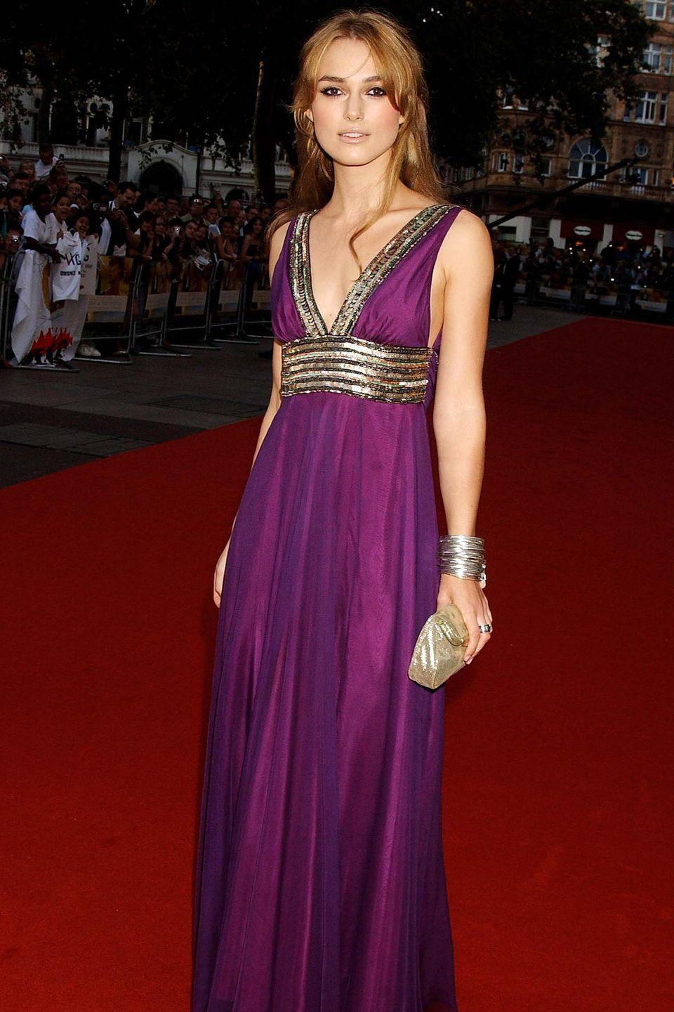 <p>The gold details and purple hue of Keira Knightley's dress she wore to the 2005 premiere of <em>Pride and Prejudice</em> makes the British actress look a lot like the Greek heroine.</p>