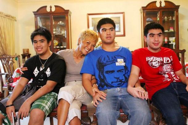 Matec Villanueva and her sons