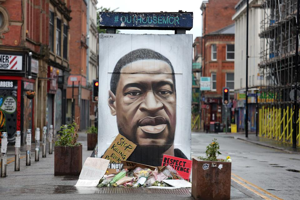 A mural of George Floyd by the street artist Akse in Stevenson Square in Manchester's Northern Quarter. The mural is in memory of George Floyd who was killed on May 25 while in police custody in the US city of Minneapolis.
