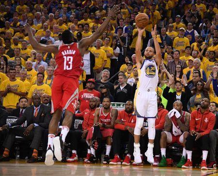 May 26, 2018; Oakland, CA, USA; Golden State Warriors guard Stephen Curry (30) shoots over Houston Rockets guard James Harden (13) in the second half in game six of the Western conference finals of the 2018 NBA Playoffs at Oracle Arena. Mandatory Credit: Kyle Terada-USA TODAY Sports
