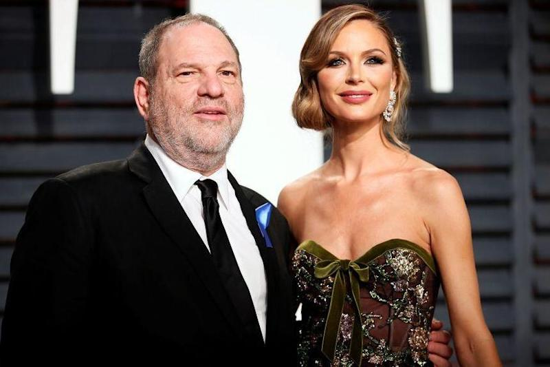 Harvey Weinstein and his wife Georgina Chapman who has announced she is leaving him (REUTERS)