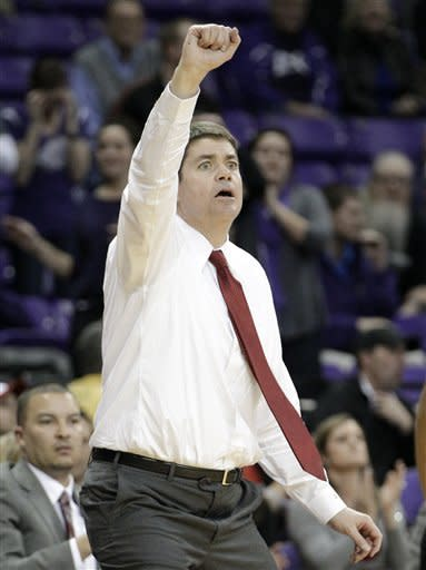 UNLV head coach Dave Rice instructs his team during overtime of an NCAA college basketball game against TCU on Tuesday, Feb. 14, 2012, in Fort Worth, Texas. UNLV lost to TCU, 102-97. (AP Photo/Tony Gutierrez)