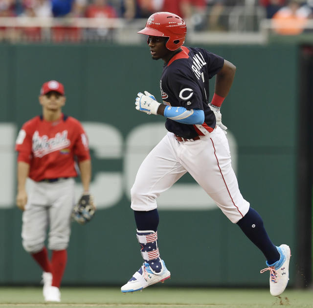U.S. Team Taylor Trammell runs the bases after a home run against the World Team in the sixth inning during the All-Star Futures baseball game, Sunday, July 15, 2018, at Nationals Park, in Washington. The the 89th MLB baseball All-Star Game will be played Tuesday. (AP Photo/Susan Walsh)